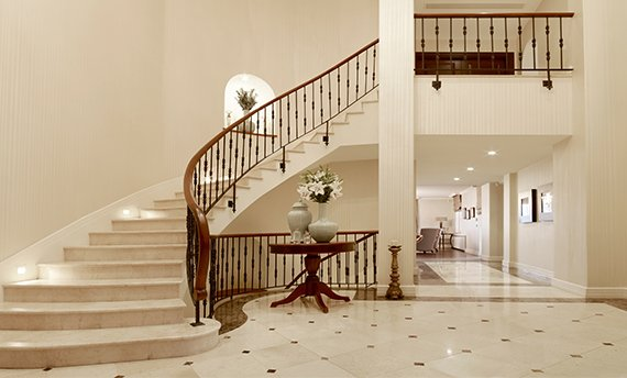 Beautiful polished marble foyer and stairs=